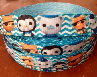 "Lot of 2 Metres of 7/8"" Grossgrain Ribbon - Octonauts - For Craft"
