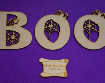 MDF Halloween Boo letters 8-9cm/80-90mm x 3mm - Laser cut wooden shape