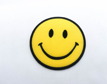 Smiley Face Iron on Patch(L1) - Happy Smiley Face Applique Embroidered Iron on Patch-Size 6.6cm