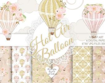 Watercolor Hot Air balloon flowers digital paper, Balloon pattern, damask pattern, seamless pattern, Repeatable Digital Paper