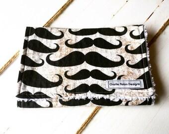 Burp cloths / moustache / boys / gift / chenille backed
