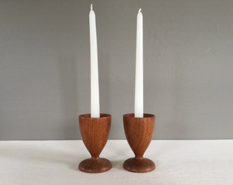 Pair of Mid-Century Wood Candlestick Holders - Turned Wood Candleholders - Scandinavian Style