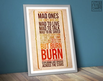 "Jack Kerouac [DL] // On The Road, Kerouac Quote, The Mad Ones, Jack Kerouac Print, Jack Kerouac, Burn Burn Burn!, A2 & 18x24"", Download Copy"