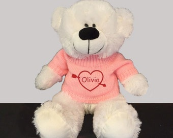 Personalized Heartstruck Snuggle Teddy Bear - White with Red Sweater, 12 inch