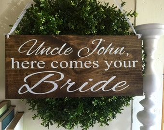 Here comes the Bride sign, flower girl sign, ring bearer sign, rustic wedding signage, rustic sign, rustic wooden sign, custom wood sign