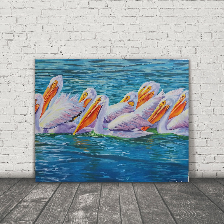Pelican Art Turquoise Home Decor Pelican Print Florida