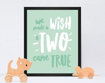 We Made a Wish New Baby Twins Print / Newborn Twins Print / New Baby Twins Gift / Nursery Print / Free UK Postage