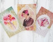 Handmade greeting cards, watercolor art print, thank you cards, assorted cards, hand painted card, set of greeting cards, original cards