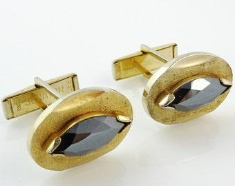 Vintage Senator Cufflinks Gold Tone Hematite