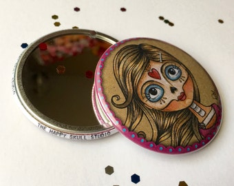 Sugar Skull Girl Pocket Mirror