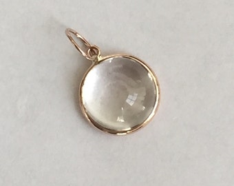 14k solid rose gold and white quartz cabochon charm