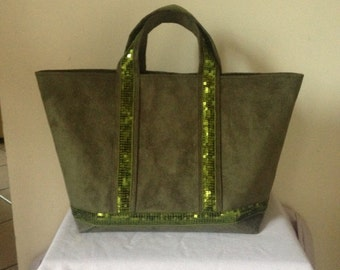 Bag Tote with sequins medium model in Green Khaki suede