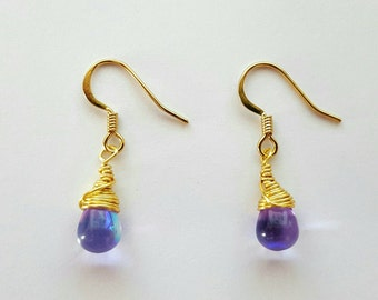 Lavender AB Czech Glass and Gold Teardrop Earrings