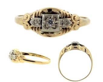 Antique Art Deco Petite Diamond Ring 14k White and Yellow Gold