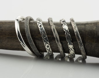 Stacks, Silver stack ring, Textured silver stacks, black silver band, silver band, silver ring, original silver band, custom handmade ring