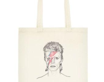 David Bowie Printed Cotton Tote Bag Aladdin Sane lightening illustration
