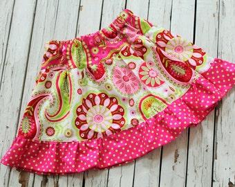 Little Girls Twirl Skirt, Little Girls Pink and Lime Green Paisley Twirl Skirt, Size 5 Ruffle Skirt, Ready to Ship