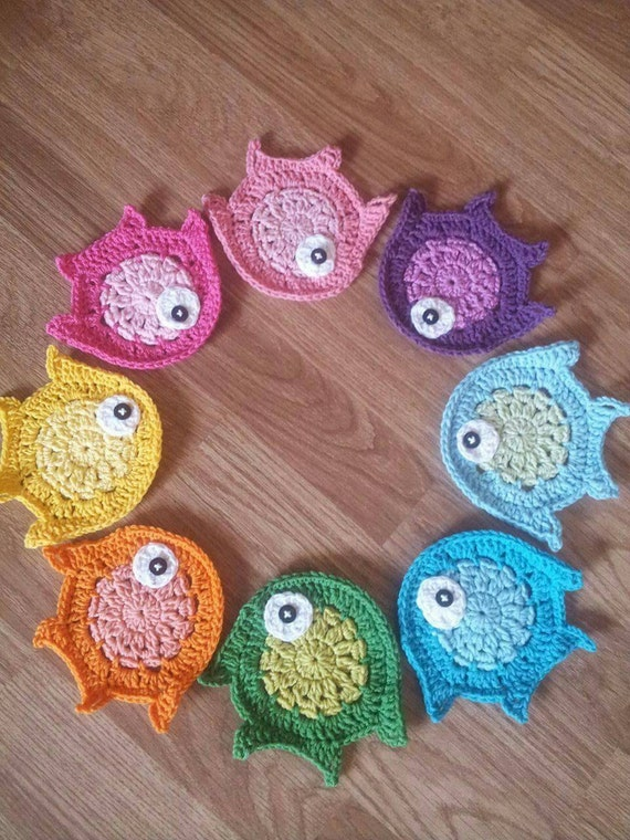 Free Crochet Fish Coaster Pattern : Crochet appliques crochet fish animal applique pattern