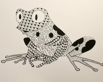 Frog Zentangle Art Print