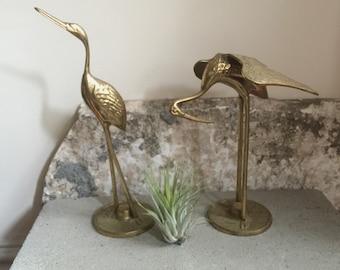 Vintage Brass Set of Two Cranes/Herons