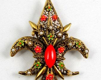 ART signed Fleur De Lis filigree colorful Victorian brooch