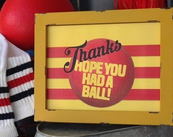 Thanks Hope You Had A Ball Retro tube socks Dodgeball kickball thank you favor sign