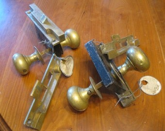 Two Antique Doorknob Sets , Brass Doorknob Sets , Antique Doorknobs, FREE SHIPPING!!!
