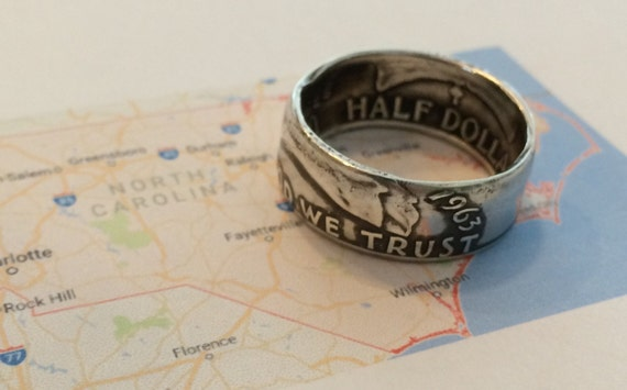 1948-1963 Silver Coin Ring Crafted from Genuine Silver US Franklin Half Dollar (free shipping)