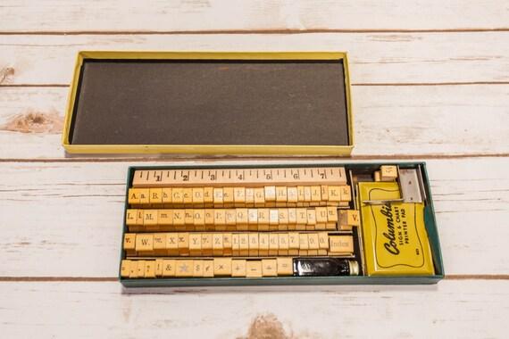Vintage Columbia Sign Amp Chart Printer Wooden Rubber Stamp Set