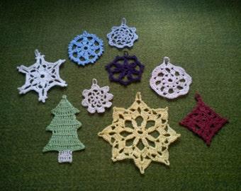 Crochet Christmas tree ornaments, 9-teilig