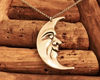 Vintage Sterling Silver Moon Face Necklace
