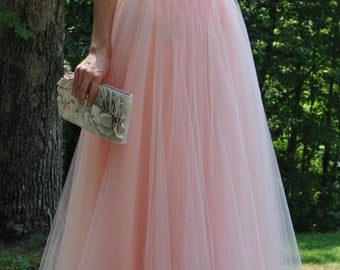 Peach circle tulle skirt,Wedding dress,Premium Quality Tulle,Soft Tulle skirt,Adult tulle skirt,custom made, floor length