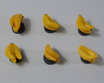 Set of 6: Yellow Banana Fruit Magnets Handmade from Polymer Clay