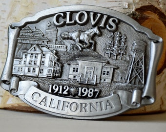 Vintage Metal Belt Buckle, Clovis California, 1912-1987  75th Anniversary,  Limited Edition  ,Made in USA