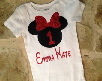Personalized red and black minnie mouse first birthday bodysuit, minnie mouse first birthday shirt, red and black minnie birthday shirt