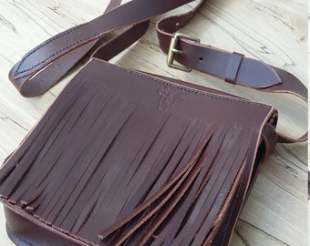 Handmade Leather Shoulder Bag with Fringes, Satchel, Crossbody, Messenger, Handbag, Ladies, Brown, 3rd Anniversary Gifts for Her, Women