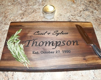 Engraved Cutting Board, Rustic Cutting Board, Walnut Cutting Board, Personalized Cutting Board, Cutting Board