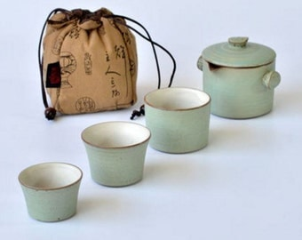 2A Crude pottery tea set 1 pot 3 cup all in 1 with linen traveling bag
