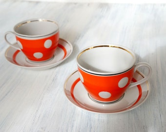 Red polka dot tea cups and saucers Set of 2 Vintage Porcelain coffee cups and saucers with polka dot Spotted tea cup Retro kitchen decor