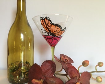 Butterfly martini glass, stained glass style