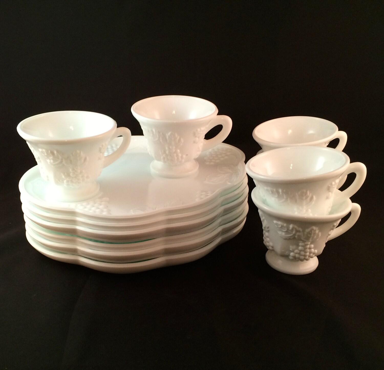 Sale milk glass snack sets set of