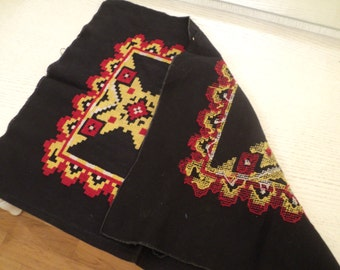 Vintage Embroidered fabric for pillows. Black fabric with Ukrainian cross-stitch. Handmade art embroidered cushions