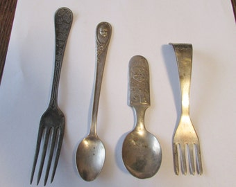 4 Vintage Childrens Silverware Fork Spoon Clown Gerbers Cat Blocks