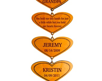 Custom Gift To GrandParents,Personalized Grandpa and Grandma Gift,Grand Kids Names,Birthdays Wall Hearts,Gift from Grandkids to GrandParents