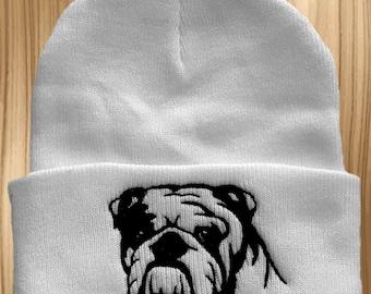 English Bulldog Embroidered Knit Hat