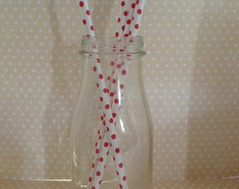 White With Red Polka Dots Party Paper Straws - Set of 10