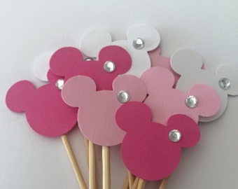 Minnie Mouse bling Cupcake Toppers