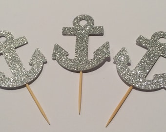 Sparkling anchor cupcake toppers