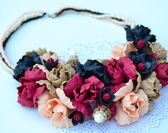 Flower necklace. Marsala necklace. Surround massive necklace. Necklace freesia.  Brown black peach necklace. Handmade necklace.