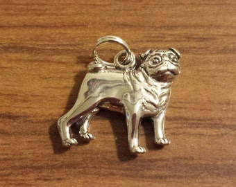 Sterling Silver Pug Dog Charm by H&H